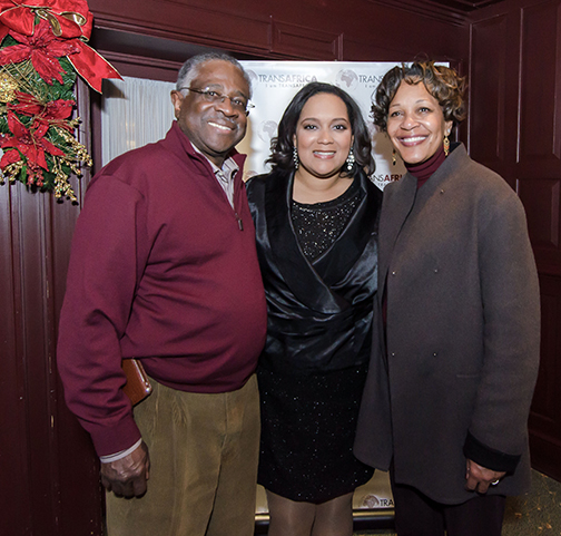 Willie Baker, CBTU Executive Vice President, Nicole Lee, TransAfrica President and AFL-CIO Executive Vice President, Arlene Holt Baker pose for a photo at TransAfrica's film reception event at Clyde's.