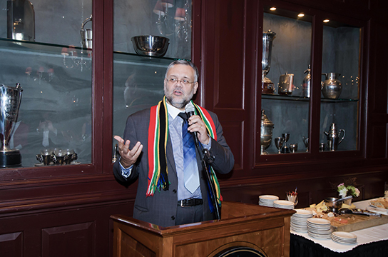 South African Ambassador, Ebrahim Rasool addresses the guests at the TranAfrica film screening reception at Clyde's Gallery Place.