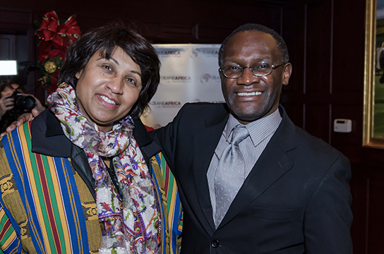 Jeanne Toungara, Howard University professor and Mwiza Munthali, TransAfrica Public Outreach Director pose for a picture at TransAfrica's film reception at Clyde's.