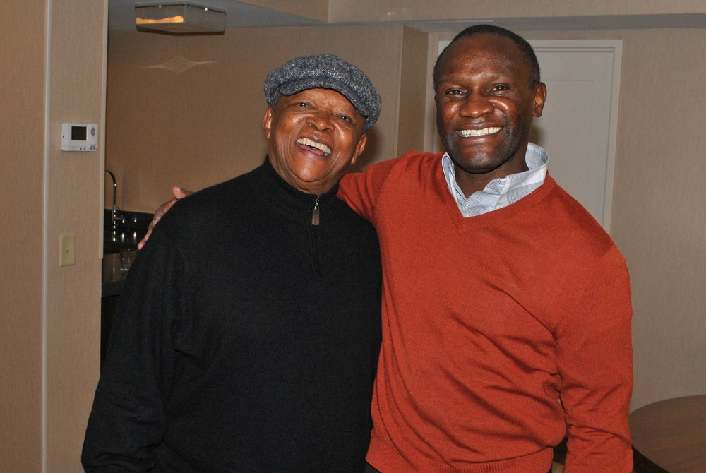 Hugh Masekela (L) with Africa Now! Host Mwiza Munthali (R)