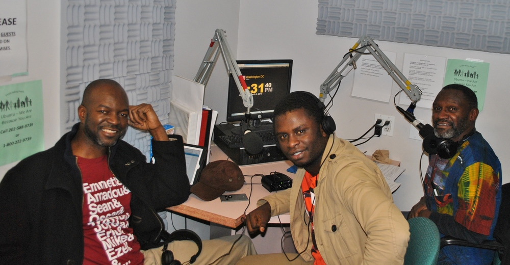 (L-R) Maurice Carney of Friends of the Congo; Ben Kabamba of Youth for A New Society; Mwiza Munthali Host of Africa Now!