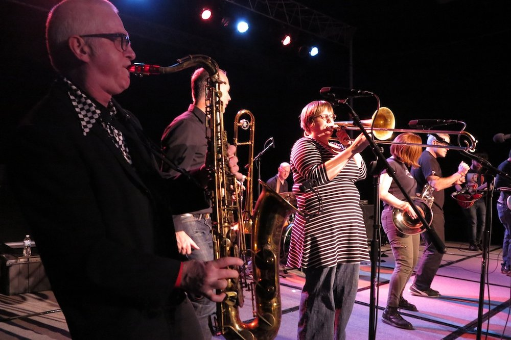 the horn section of the ska band Umbrella Bed.