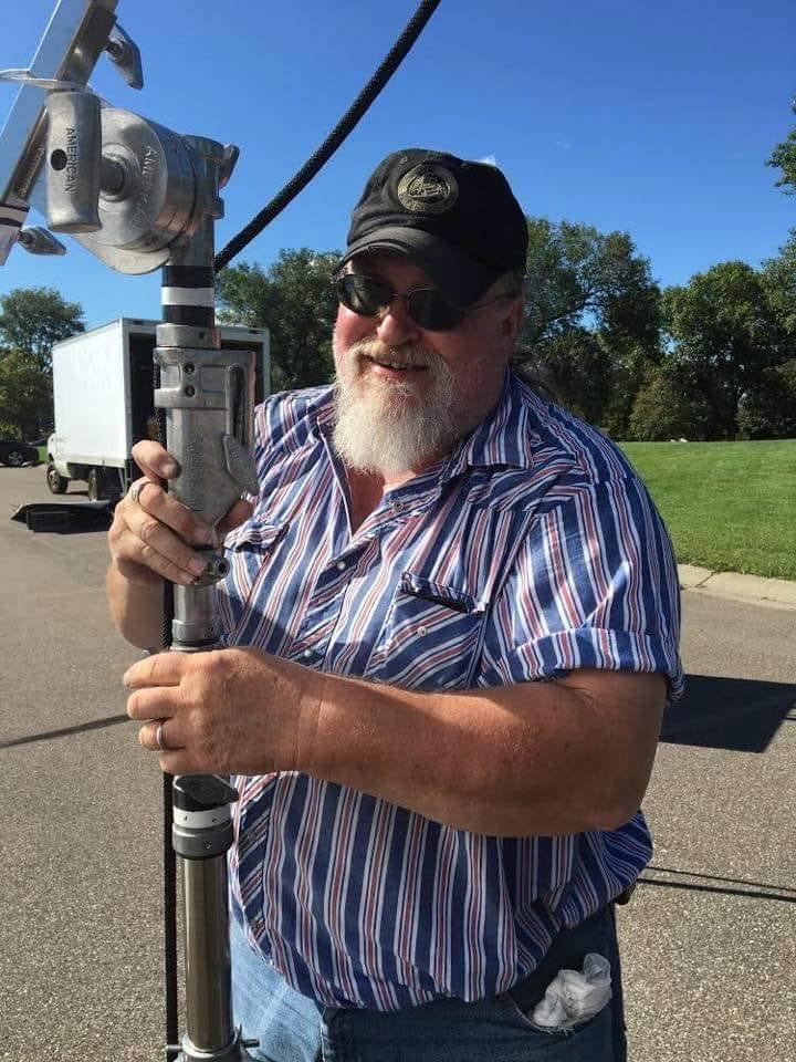 """Electrician & Grip Craig """"Rhino' Hanson on set."""
