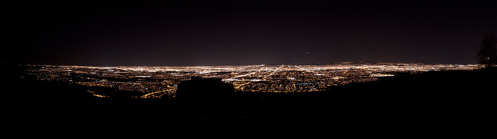 The Phoenix skyline at night from South Mountain