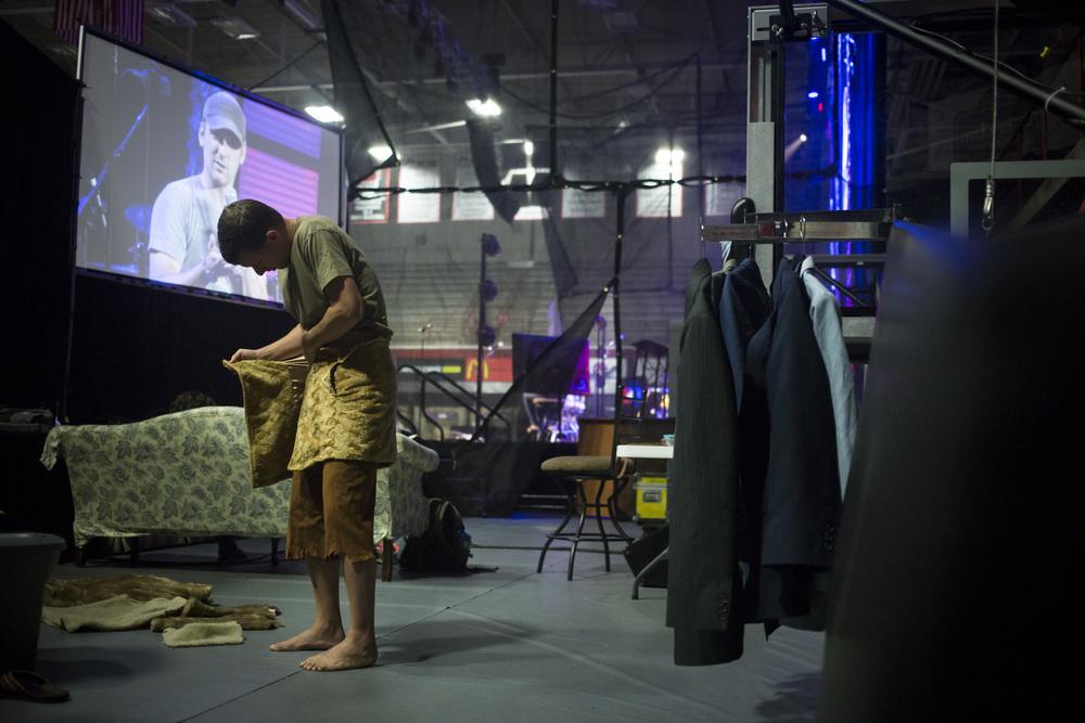 Matt preparing for morning devotions