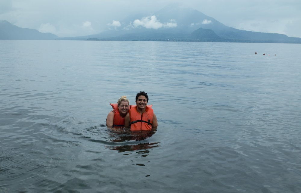 Swimming under two volcanoes at Lake Atitlán! Join us!