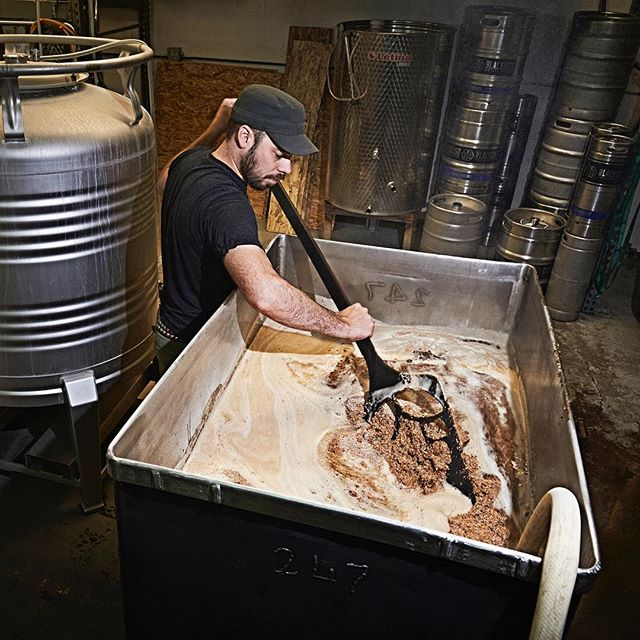 Brian Schanzenbach of Blacklist Brewing uses the new Epicurean mash paddle on this tun full of soon-to-be beer goodness. #epicurean #beer #mash #brew #blacklist #mn #duluth #crafted #wip