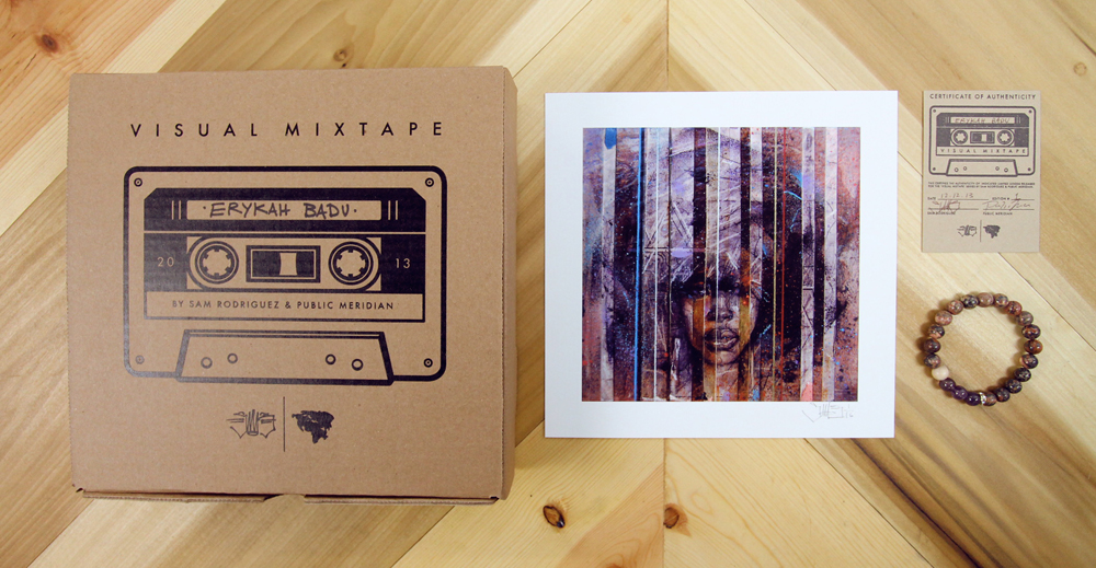 Erykah Badu Box Set: Signed Print & Bracelet (made from Amethyst and Leopard Jasper). Limited to 10 Editions.