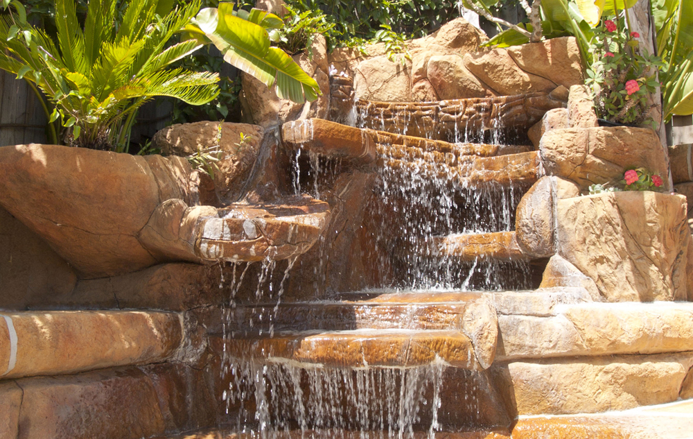 Backyard waterfall, private residence, Santa Barbara.