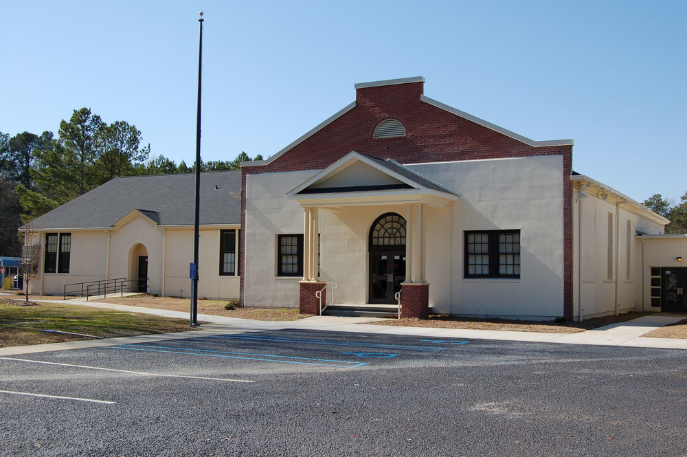 Blythewood School Auditorium built in the early 1930's.  Photo by Jim McLean.