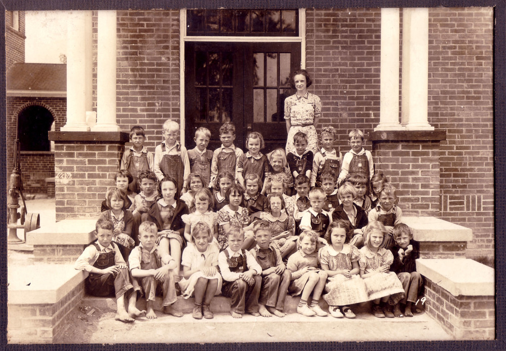 Gladys Harris's 2nd grade class in 1938.  First year school gym opened. Photo courtesy of Jim McLean
