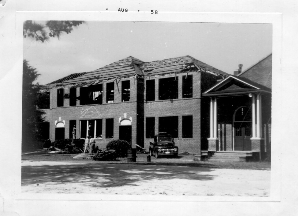 Blythewood School constructed in 1920 being razed in 1958.