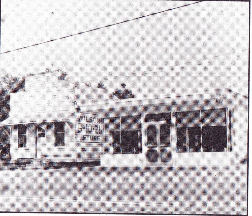 Wilson's 5 and 10 Store showing the old and new store.  Photo taken in the early 1950's.
