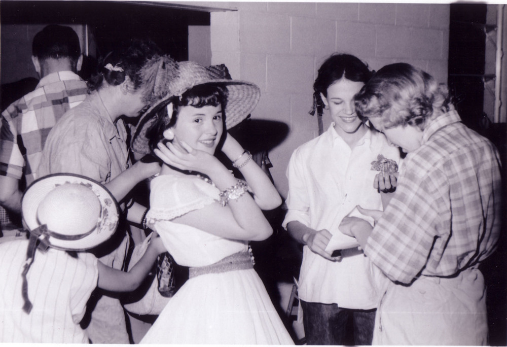 Tacky Party at Blythewood Community Center about 1959.  Jean Wilson Lang in hat, Bonnie Creech Martin in center and Nancy Poston with back to camera.  Photo by Hudnalle McLean Sr.