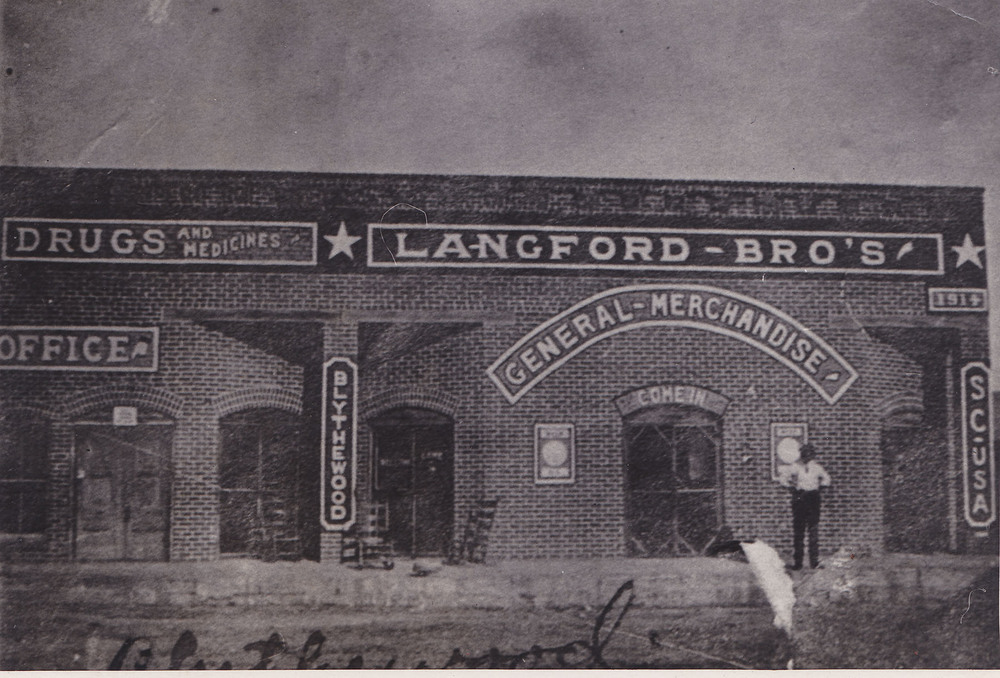 Langford Brothers Store.  Only known photo of this historical building.  Photo Courtesy of Carolyn Ashworth.