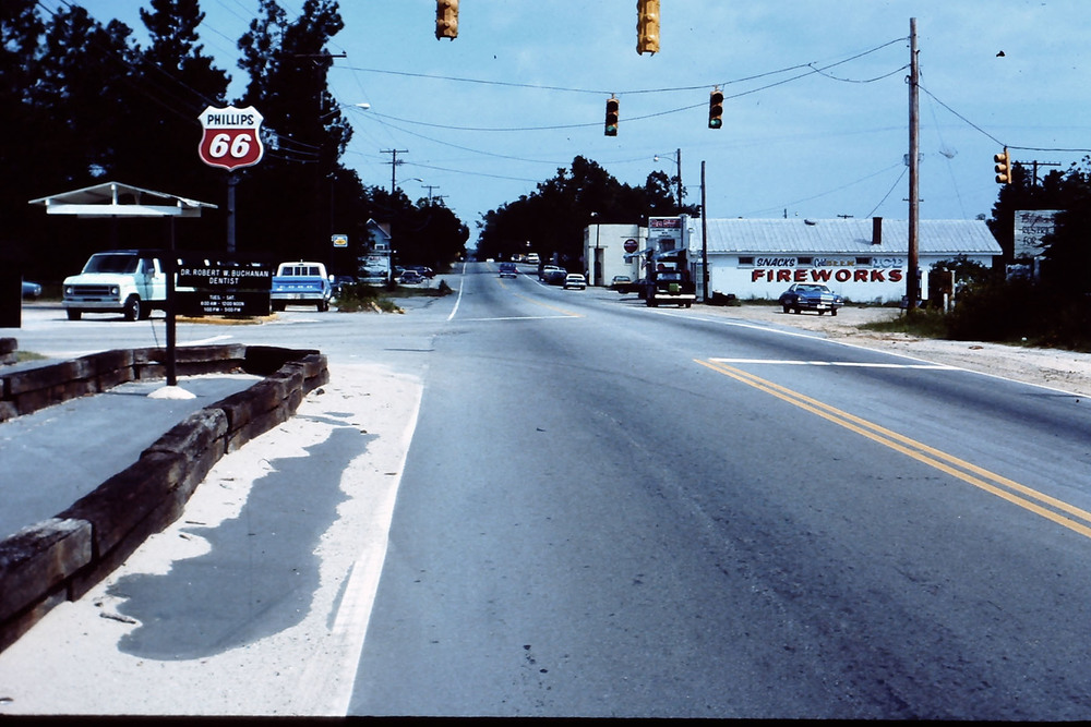 View of Main Street looking North.  Photo taken by Hudnalle McLean Sr. about 1970.