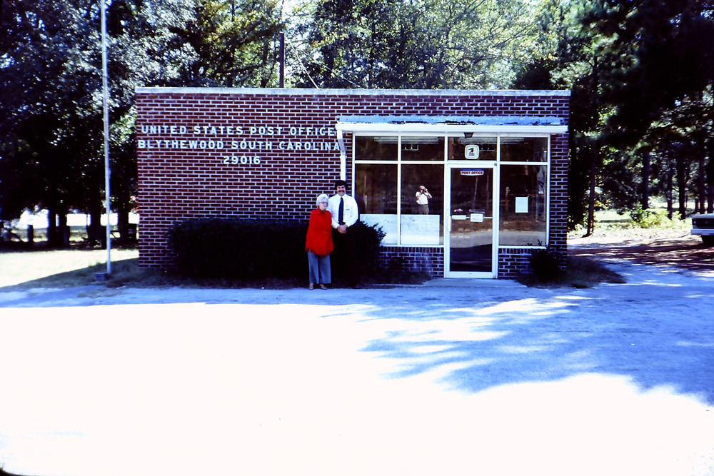 New Blythewood Post Office on McNulty St.  Standing are Gladys McLean and Jim Jeffcoat.