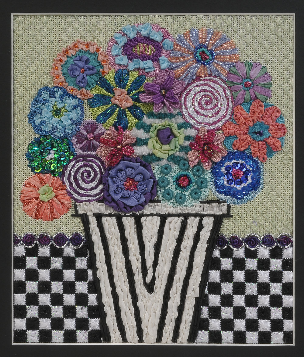 Flowers & Trees -Flowers & Checks  BB 105 -Finished piece stitch guide available - also available to teach in your store as are all models.