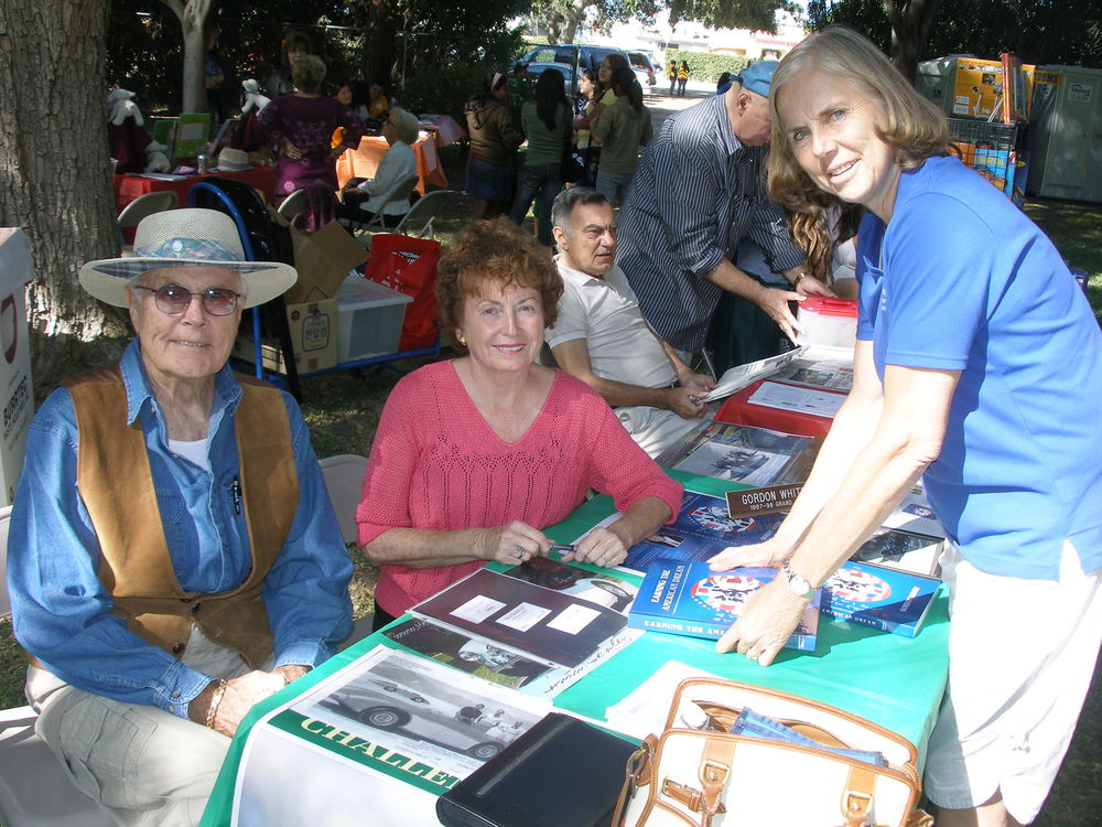 Mayor Margaret Finlay at the Festival of Authors with internationally recognized authors Gordon Whitby and Julie Davey.
