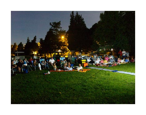 Enjoy an outdoor movie with your friends.