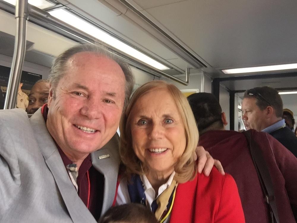 Margaret and former LA Councilman Tom LaBonge on the Gold Line first ride