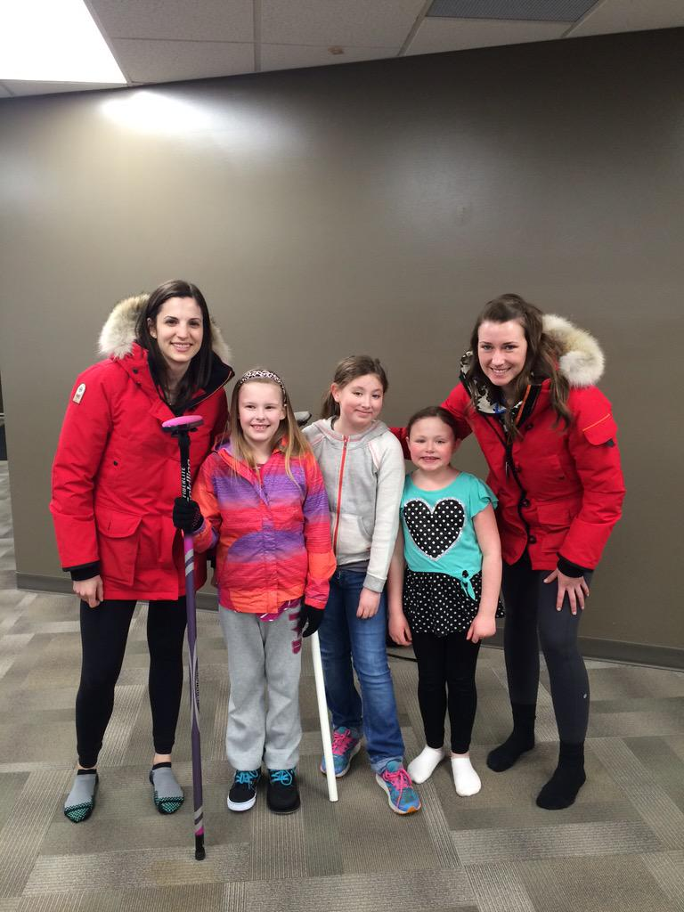 Lisa and Emma meet some future Alberta curling stars.