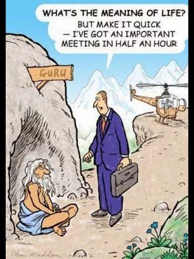¿Cuál es el sentido de la vida? Hazlo breve, que tengo una reunión importante en media hora.