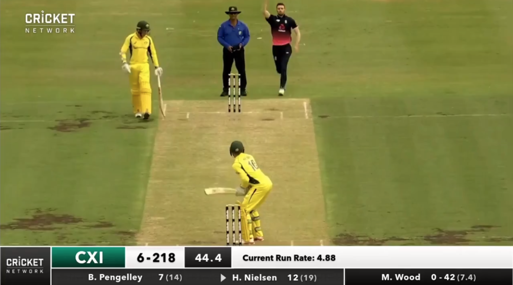 Former Ilkley Cricket Club Overseas boys, Harry Nielsen and Ben Pengelley at the crease together as Cricket Australia XI take on England at the Drummoyne Oval. Click the image for a link to the highlights.