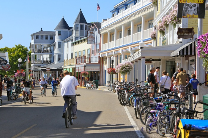 Bike traffic on Mackinac Island. Photo by: Bike Walk Lincoln Park
