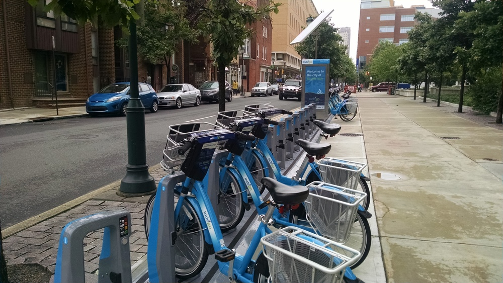 Philadelphia's Indego bike share system uses smart-docks, which lock and electronically check in/out bikes. Photo By: Dan Sommerville