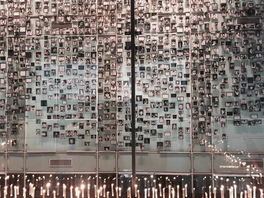 A wall of victims of the Pinochet dictatorship on display at the Museum of Memory and Human Rights, in Santiago, Chile. This is one of many memorials that can be found all over the city.