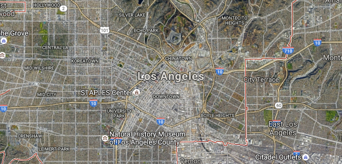 "Los Angeles, perhaps the United States' most iconic example of sprawl, is a form of ""dense sprawl"" where a consistent density is maintained throughout the urbanized area. (Source: Google Maps)"