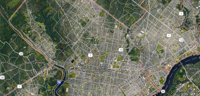 "Philadelphia is an example of ""leapfrog"" sprawl, where new development ""leaps"" over vacant land to the fringes of the urban area. (Source: Google Maps)"