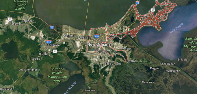 "New Orleans is a city with a dominant core of businesses and residences, with the ""sprawl"" emanating from the fringes of the urban boundaries. (Source: Google Maps)"