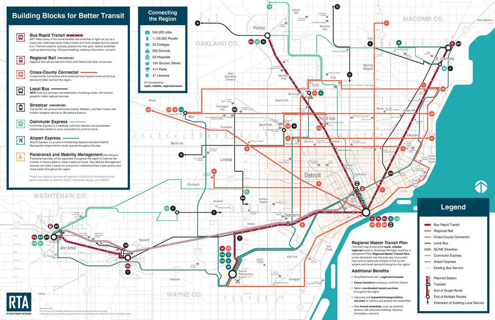 The Southeast Michigan Regional Transit Authority's proposed regional transit system would serve four counties, expanding transit access to residents of the emerging megaregion.