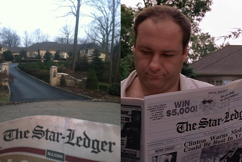 The Soprano homestead in North Caldwell, New Jersey, the same driveway where Tony Soprano picks up his Star-Ledger newspaper at the beginning of every season. (Left photo: Rich Bunnell, right photo: HBO)