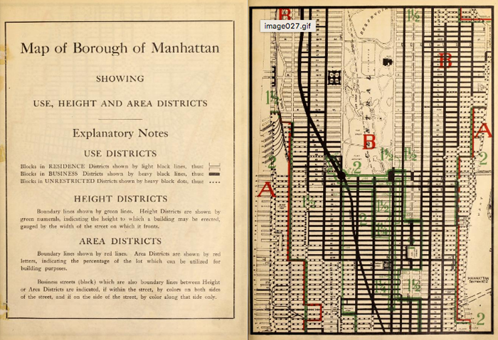 The earliest zoning of New York City relied on a layering system of use, height, and area. Maps are broken up into pages, as they don't necessarily need to relate to the entire city as a whole, but rather the complex set of relationships contained within their borders. (Source: The Internet Archive.)
