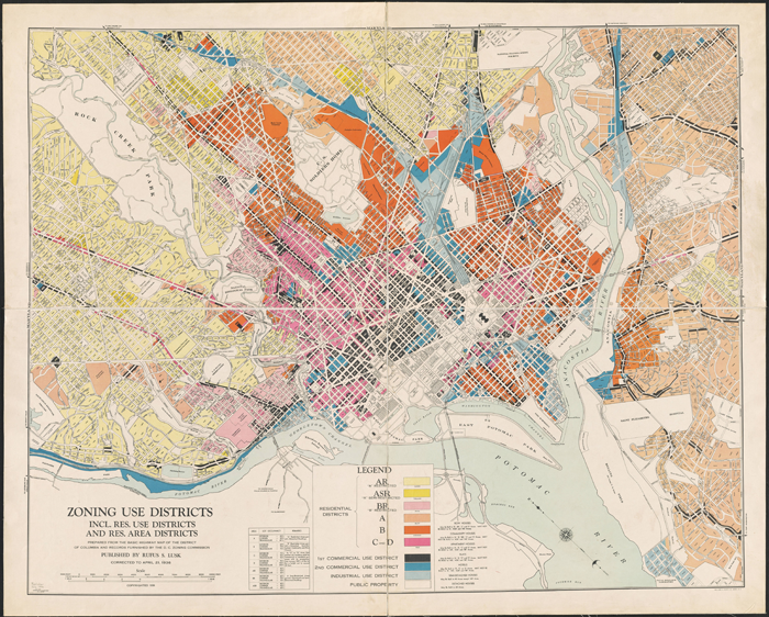 Most maps of early DC zoning are drawn in full, such that the L'Enfant plan is most prevalent even when locating individual lots in the map. (Source: InTowner.com.)