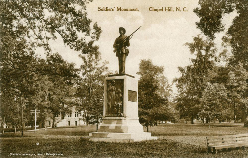 "Silent Sam. ""Confederate Monument, 1913."" (North Carolina Photographic Archives, Wilson Library, UNC Chapel Hill.)"