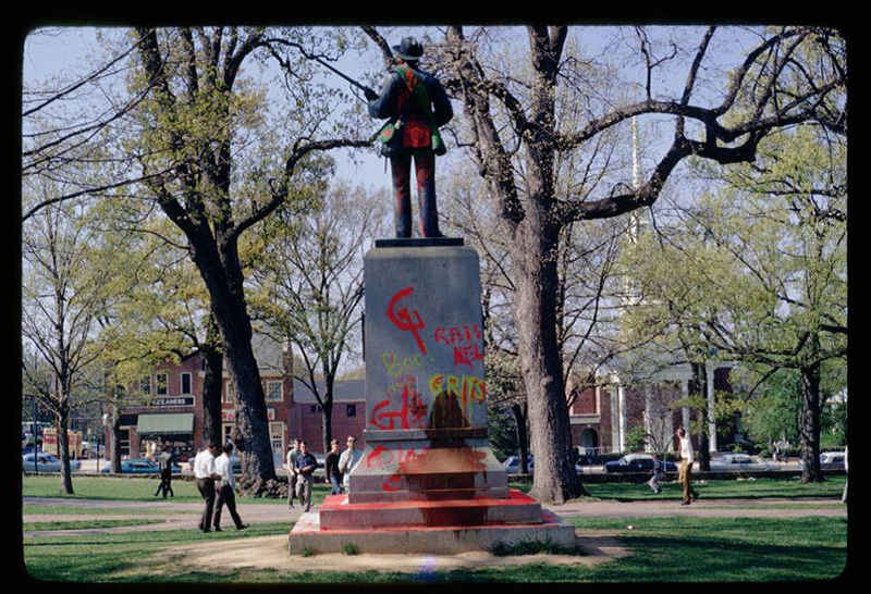 Silent Sam circa April 7th, 1968. (Photo: Hugh Morton Photographic Collection, North Carolina Collection Photographic Archive, Wilson Library, UNC Chapel Hill.)
