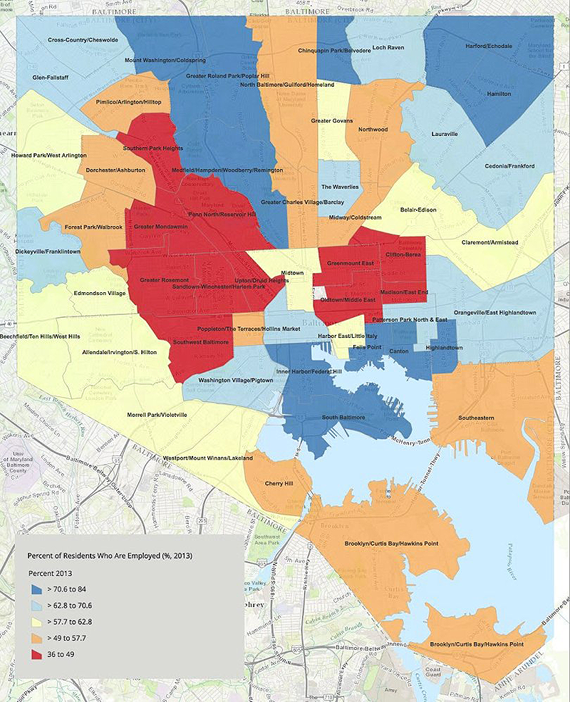 """Unemployment rates in Baltimore adhere to the pattern of the majority-black """"Black Butterfly"""" and the majority-white """"White L.""""(Source: Baltimore City Health Department, via Baltimore City Paper. Header image: Creative Commons)"""