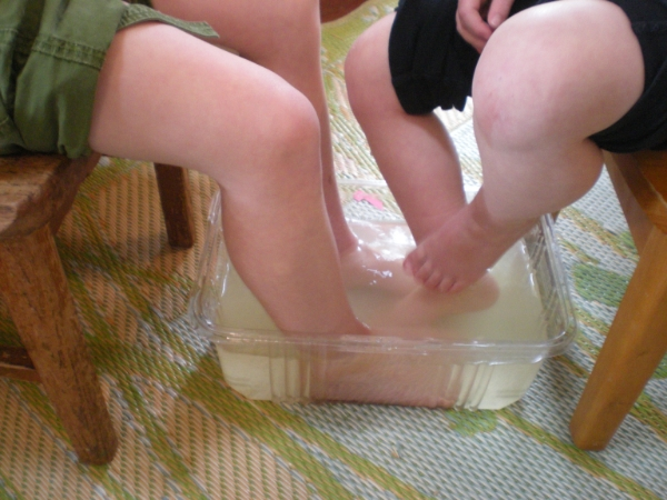 A friendly ginger foot soak on a cold wintry day.