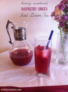 Raspberry Ginger Iced Green Tea by Richly Rooted