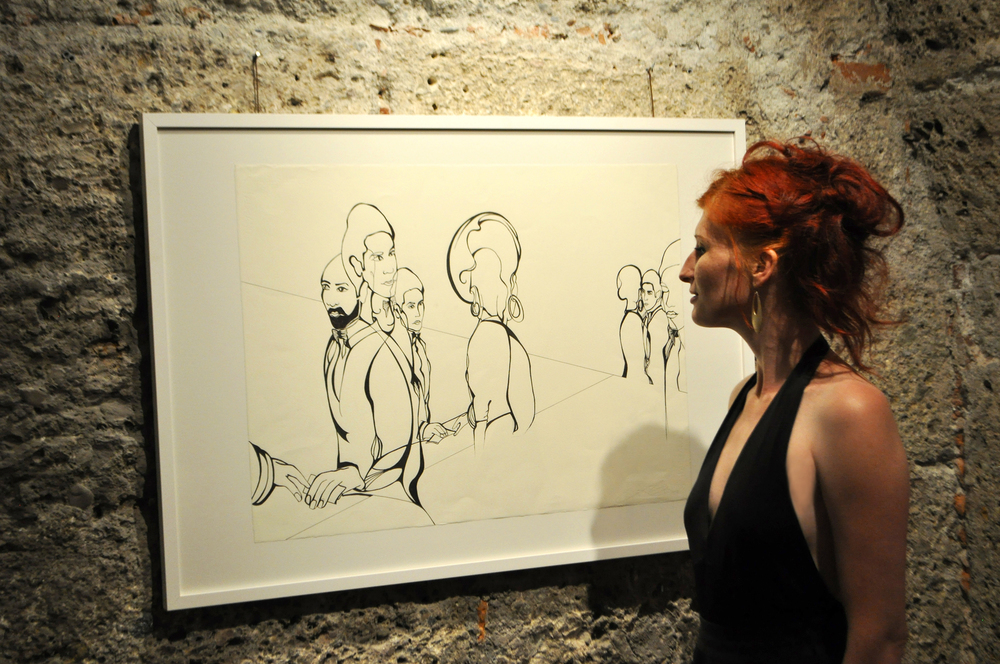 "Foto: Robert Herbe, Drawing: ""Auf Tigerbalsam folgt Hautnähröl"""