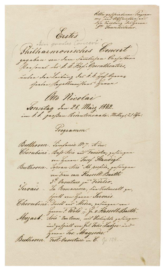 Program of the first concert of the Vienna Philharmonic Orchestra, March 28th, 1842 (c) Historisches Archiv Wiener Philharmoniker