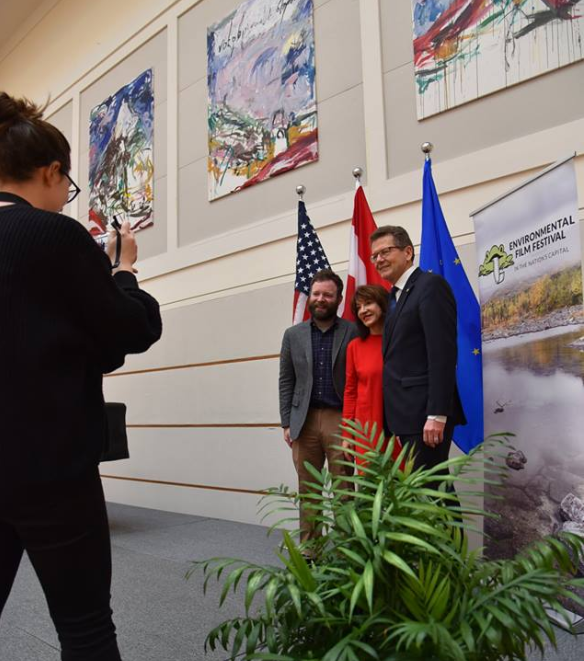 Photo | Chris Head (DCEFF's Executive Director), Honorary Host Nora Pouillon and Ambassador Wolfgang Waldner (c) Embassy of Austria