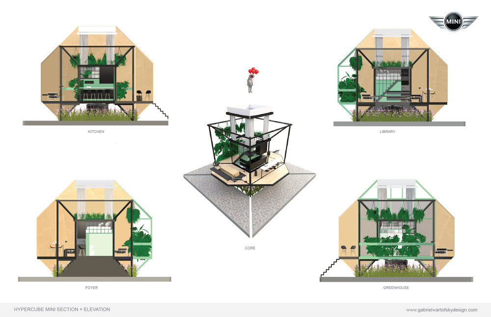 The key element behind the HYPERCUBE MINI design is its central CORE- a 100 sq ft prefab module that integrates kitchen, bathroom and bedroom along with water filtration and energy capture/storage.  The KITCHEN provides a space to cook, store goods and socialize. Its vast windows invite the outside scenery in.  The GREENHOUSE provides a visible connection between natural systems and living space. It grows crops/plants, filters grey water and air, and provides a psychological tone of balance and serenity.  The LIBRARY provides storage, social space and beautiful views.  The BATHROOM provides a private space to tend to body, as well a solar battery pack for energy storage.  The BEDROOM sits atop the Core, with Shigeru Ban-inspired curtains providing selective privacy, while a large skylight view, inspired by James Turrell's 'Skyspace' studies, provides an intimate view of the heaven's above.