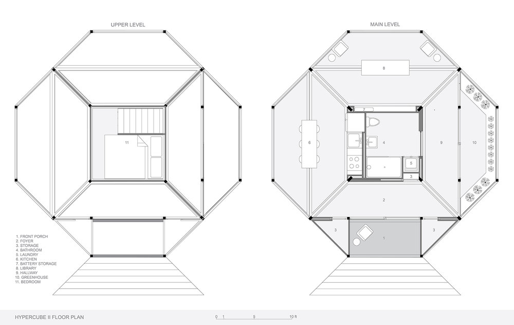 Each living space cantilevers off of the CORE like a balcony, maximizing space while minimizing footprint.