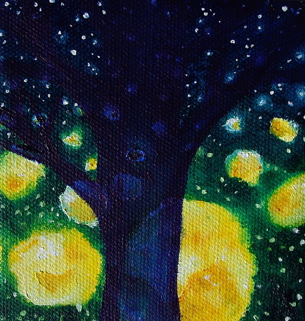 "The Poet Tree  Oil on canvas. 4 x 4 x 1"". 2013   Purchase here"