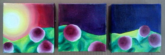 "Oil on canvas. Each painting is 4 x 4 x 1"".  2013   Purchase here"